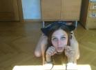 Kitty gags on dildo