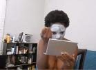 [Image: clown make up for employee self shot]