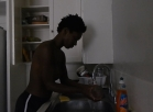 [Image: afro dishwashing topless afro gym shorts]