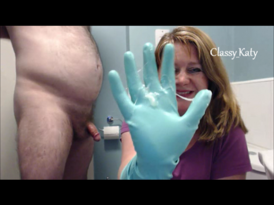 Her handjob rubber gloves messy agree with